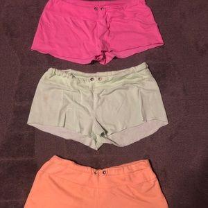 Set of 3 Comfy Shorts Pink Orange Green Cute